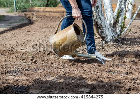 the garden - woman watering garden beds for sowing seeds. female hands and a metal watering can - stock photo