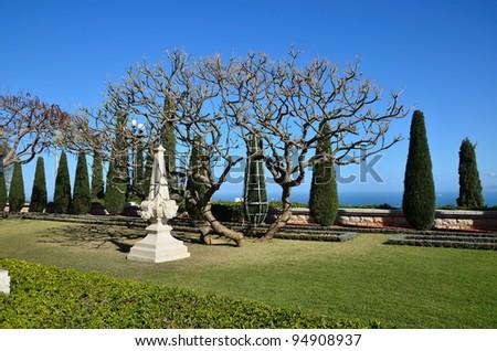 The gardens around  the Shrine of the Bab - stock photo