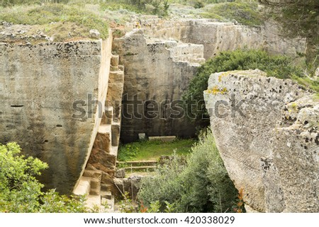 The gardens of Lithica, S'Hostal Quarries. Menorca, Balearic Islands  - stock photo