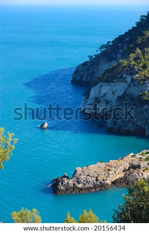 The Gargano coastline in Apulia, Italy - stock photo