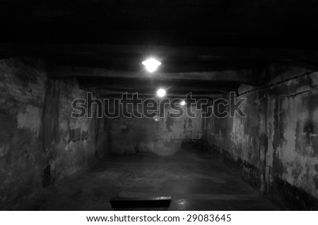 The gas chamber in Auschwitz - stock photo