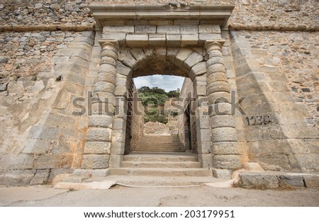 the gate of the leper colony of Spinalonga Island, Crete, Greece - stock photo