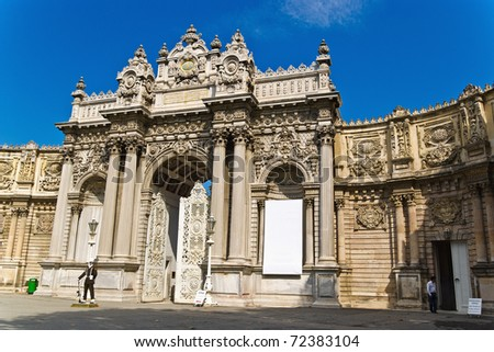 The Gate of the Sultan, Dolmabahce Palace, Istanbul, Turkey - stock photo