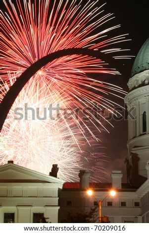 The Gateway Arch and fireworks: Black arch - stock photo