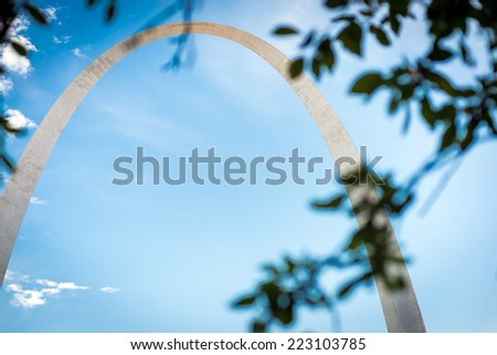 The Gateway Arch in St. Louis, Missouri, which sits at the western side of the Mississippi River - stock photo