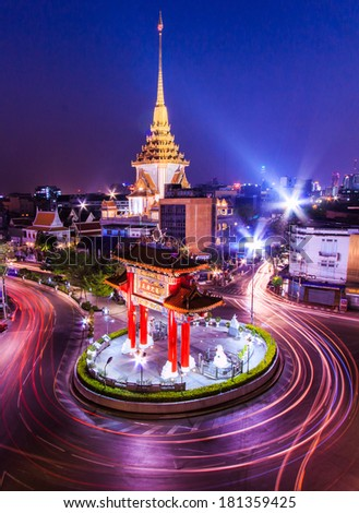 The Gateway Arch (Odeon Circle) and Temple, Landmark of Chinatown Bangkok Thailand  - stock photo