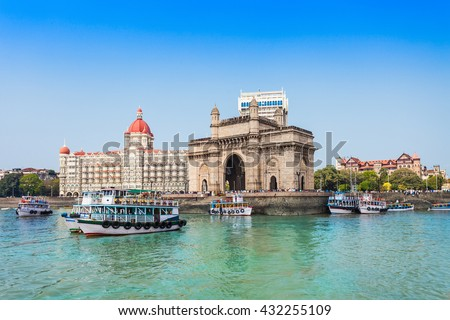 The Gateway of India and boats as seen from the Mumbai Harbour in Mumbai, India - stock photo