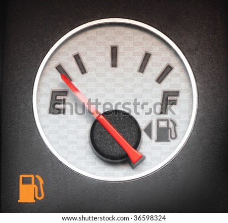 The gauge of level of fuel in the car - stock photo