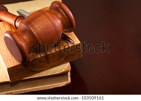 The gavel of justice and a pen lying on the book - stock photo