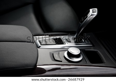 The gear shift lever in the modern car - stock photo