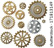 the gears in the style of steam punk. Raster - stock photo