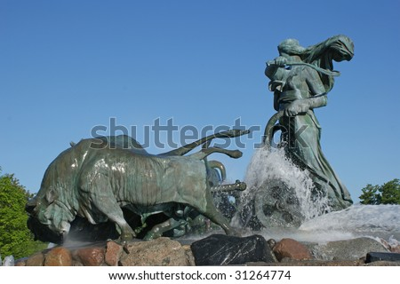 The Gefion Fountain a large fountain on the harbour front in Copenhagen. - stock photo