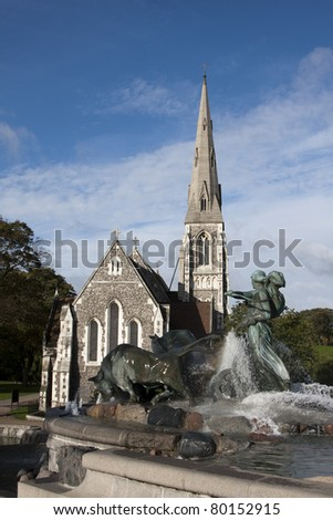 The Gefion Fountain, Copenhagen, Denmark - stock photo