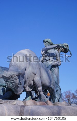 The Gefion Fountain in Copenhagen on a sunny day - stock photo