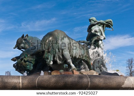 The Gefion fountain is a large in Copenhagen, Denmark - stock photo