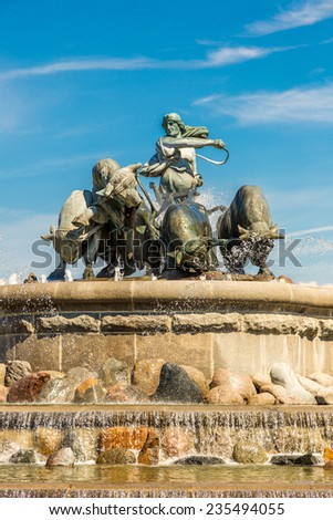 The Gefion fountain is the largest fountain in Copenhagen - stock photo