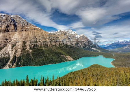 The Gem of the Canadian Rockies, Peyto Lake in Banff National Park, Alberta. - stock photo