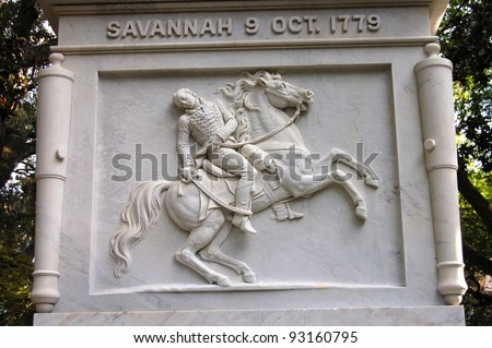 The General Casimir Pulaski Memorial in Savannah, GA markers the location of his burial.  Pulaski served wit the American army during the Revolutionary War and died at the Battle of Savannah in 1779 - stock photo
