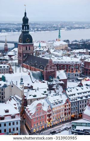 The general view of old city of Riga, Latvia, East Europe
