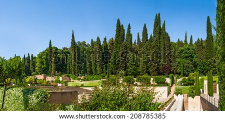 The Generalife Theatre of the Alhambra palace in Granada, Spain.