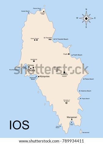 Geography Map Ios Island Archipelago Cyclades Stock Illustration