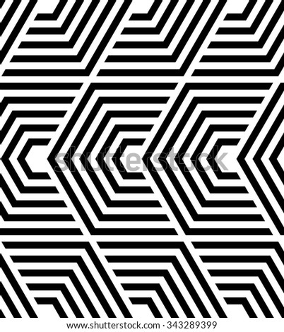 The geometric pattern by lines, hexagons. Seamless  background. Black and white texture.