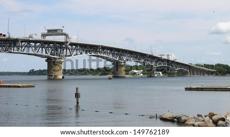 The George P Coleman bridge in Yorktown Virginia over the York river going to Gloucester Virginia - stock photo
