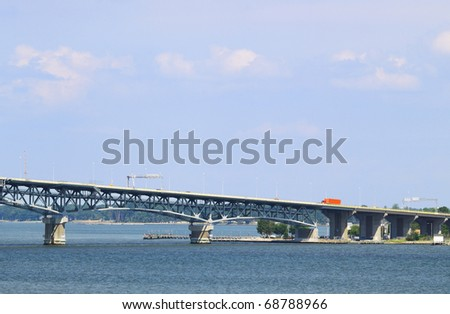 The George P Coleman swing span Draw bridge in Yorktown Virginia on a Beautiful Summer day with room for your text. - stock photo