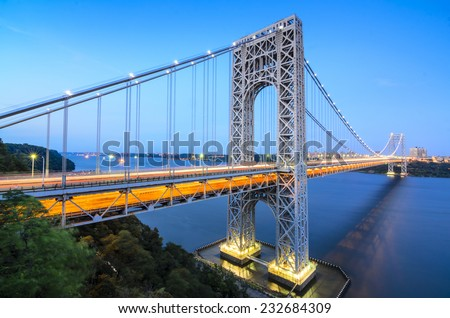 The George Washington Bridge spanning the Hudson River at twilight in New York City. - stock photo