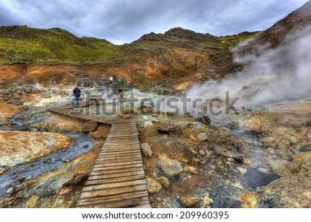 The geothermal area Krysuvik on the Reykjanes peninsula in Iceland - stock photo