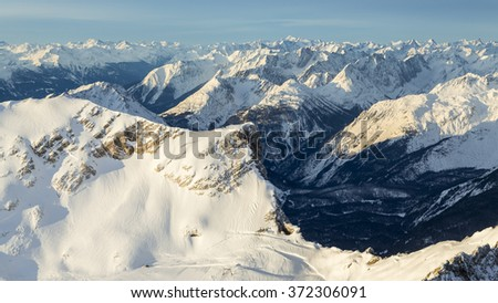 the German Alps in winter - stock photo