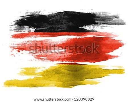 The German flag painted on white paper with watercolor