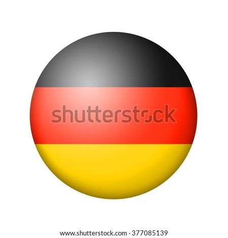 The German flag. Round matte icon. Isolated on white background. - stock photo