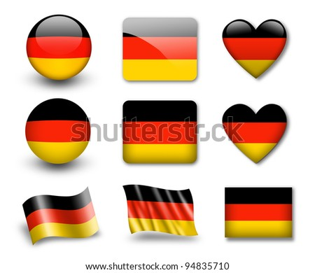 The German flag - set of icons and flags. glossy and matte on a white background. - stock photo