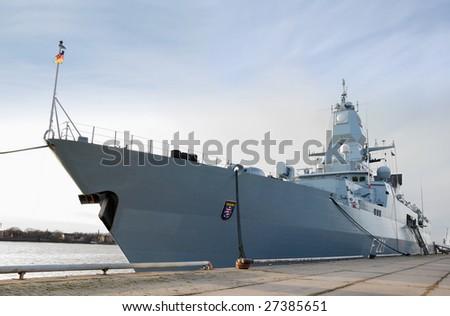 "The German frigate F 221 ""Hessen"" in Riga, Latvia. - stock photo"