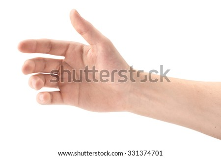 The gesture of a hand holding a phone on white background, isolated - stock photo