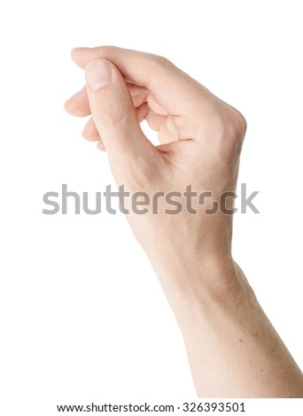 The gesture of a hand holds business card on white background isolated