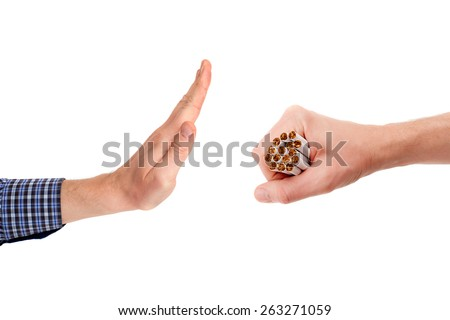 The gesture of refuse the offer of cigarettes batch, isolated on white background - stock photo