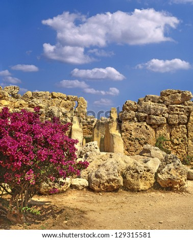 The Ggantija temples, Gozo, megalithic temples in Malta, UNESCO World Heritage Site - stock photo