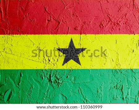 The Ghana flag painted on wall - stock photo