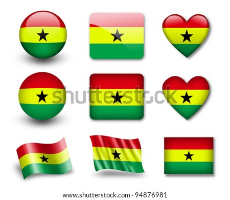 The Ghana flag - set of icons and flags. glossy and matte on a white background. - stock photo