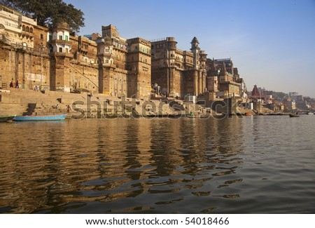The ghats in Varanasi,India. - stock photo