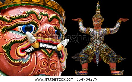 The Giant at the Emerald Buddha, Bangkok, Thailand - stock photo