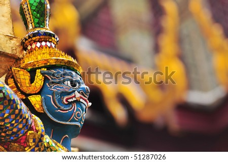 The Giant at the Emerald Buddha Temple, Bangkok, Thailand - stock photo