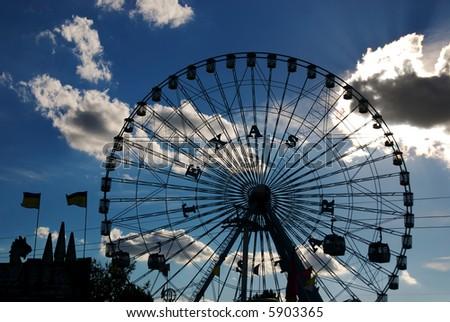 The giant Ferris Wheel at the Texas State Fair. - stock photo