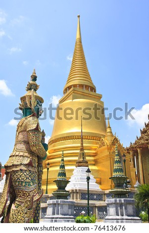 The Giant Guard in the temple, Bangkok, Thailand - stock photo