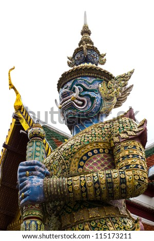 The Giant Guard in Wat Phra Keaw, Bangkok, Thailand - stock photo