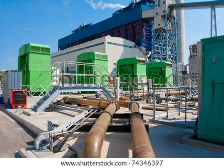 The giant water pumps for pumping water from the pool to cooling the engines in the power plants - stock photo