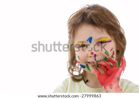 The gifted young artist. Close-up portrait of fanny girl with painted hand and face, isolated on white - stock photo