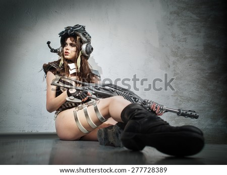 The girl - a warrior of the future - stock photo